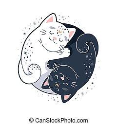 yang, vecteur, yin, deux, illustration, mignon, chats, cats., conception, étreindre, circulaire