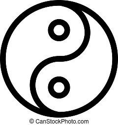 yang, vector., アイコン, シンボル, イラスト, yin, 輪郭, 隔離された