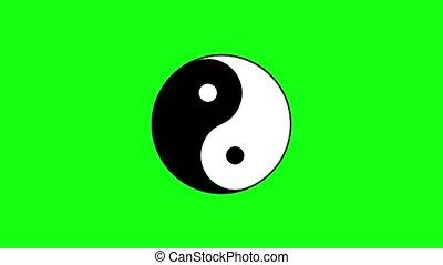 yang, vert, yin, signe, virages, oriental, chromakey, contre