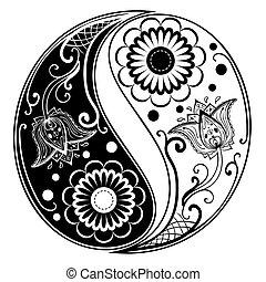 yang, yin, 作られた, ペイズリー織, 装飾