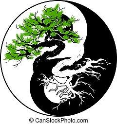 yang, yin, 盆栽