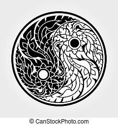 yang, yin, arte, modelli, -, tailandese, vettore