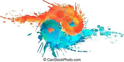 yang, yin, colorido, hecho, salpicaduras