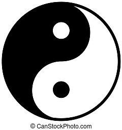 yang ying, símbolo, de, harmonia, e, equilíbrio