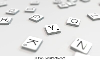 YANGON city name being composed with letters. 3D animation -...