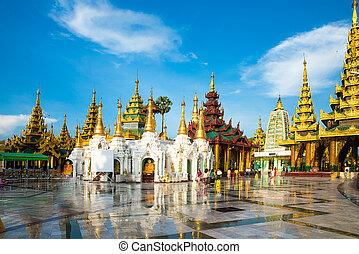 yangon, myanmar., 塔, 建物。, 最も古い, shwedagon