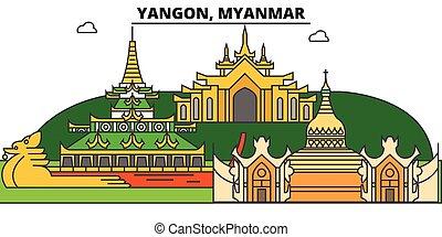 Yangon, Myanmar outline skyline, Burmese flat thin line...