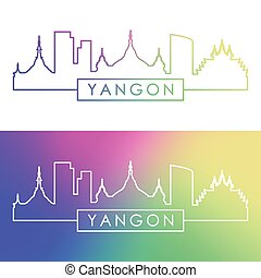 Yangon skyline. Colorful linear style.