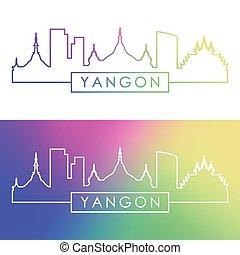 yangon, skyline., linear, style., bunte