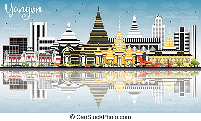 Yangon Skyline with Gray Buildings, Blue Sky and Reflections.