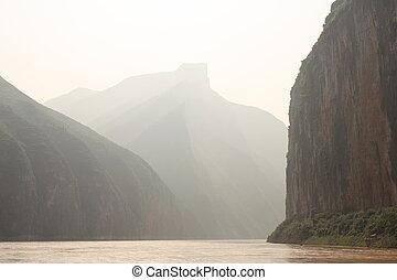 yangtze, neblina, río, mañana