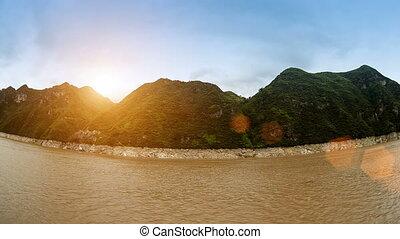 Yangtze River Range Landscape - At dusk, overlooking the...
