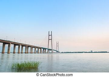 yangtze rzeka, i, most, na, zmierzch