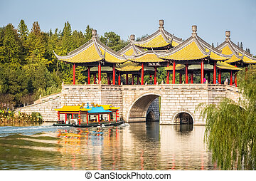yangzhou five pavilion bridge closeup on slender west lake...