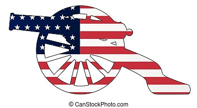 Yankee Flag With Civil War Cannon Silhouette - Typical ...