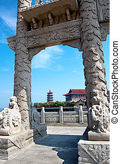 Yantai, China's classical architecture, pagodas and arch.