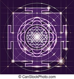 yantra., géométrie, sree, sacré