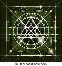 yantra., geometría, ganapati, sree, sagrado