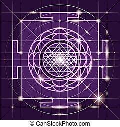 yantra., poświęcony, geometria, sree