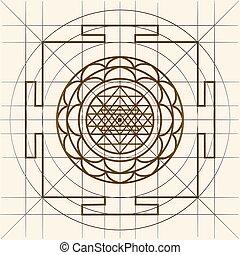 yantra., sacré, géométrie, sree
