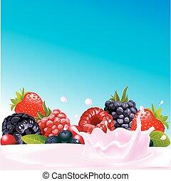 yaourth, éclaboussure, fruit forêt