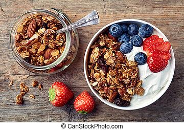 yaourth, frais, granola, fait maison, baies