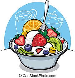 yaourth, fruit, strawbe, salade