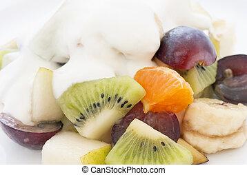 yaourth, salade, fruit