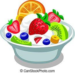 yaourth, salade
