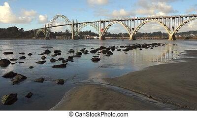 Yaquina Bay Shellfish Preserve Newport Bridge Oregon River...