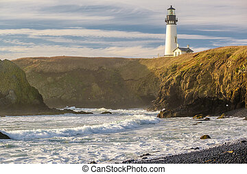 Yaquina Head Lighthouse at Pacific coast, built in 1873,...