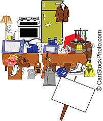 yard and garage sale background - yard sale background with...