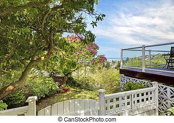 yard, barrière, pont, dos, eau, blanc, vue.