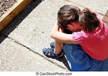 yard, elle, jeune, pleurer, triste, face couverture, girl, école