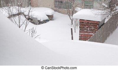yard, hiver, chute neige