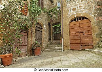 yard in borgo Pitigliano, Tuscany, Italy, Europe