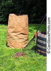 Yard maintenance - Freshly raked backyard, with rake, leaves...
