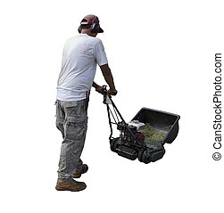 Yard man mowing lawn - Yard man with lawn mower isolated on...