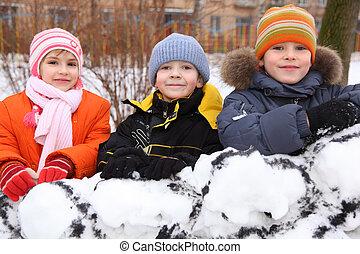 yard, mur, trois, neige, tribunal, enfants, forteresse