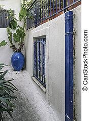 Yard of a greek house in Island, Greece