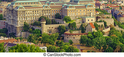 yard of The Royal Castle or palace in Budapest city, Hungary.
