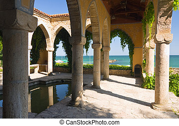 yard, palais, balchik, bain, romain, bulgarie