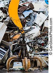 yard., powerfull, recyclage, métal, arm., mécanique, grabbyng