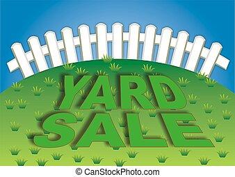 Yard Sale 3 - Yard sale sign in the backyard of the house