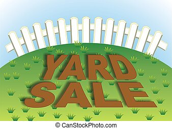 Yard Sale 4 - Yard sale sign in the backyard of the house