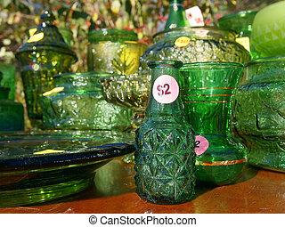 Yard Sale Green Glass Items