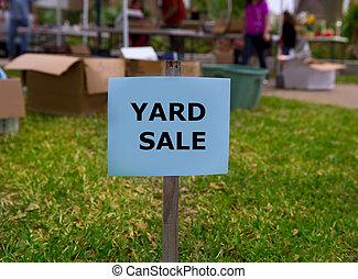 Yard sale in an american weekend on the lawn