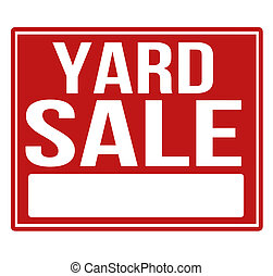 Yard sale red sign with copy space isolated on a white...