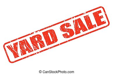 YARD SALE RED STAMP TEXT ON WHITE