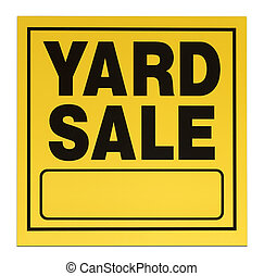 Yard Sale Sign - Yellow and black yard sale sign with copy...